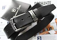 Мужской кожаный ремень пряжка серебро Massimo Dutti черный
