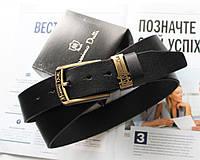 Мужской кожаный ремень пряжка золото Massimo Dutti черный