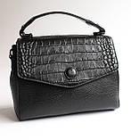 Женская кожаная черная сумка, фото 2