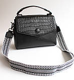 Женская кожаная черная сумка, фото 3