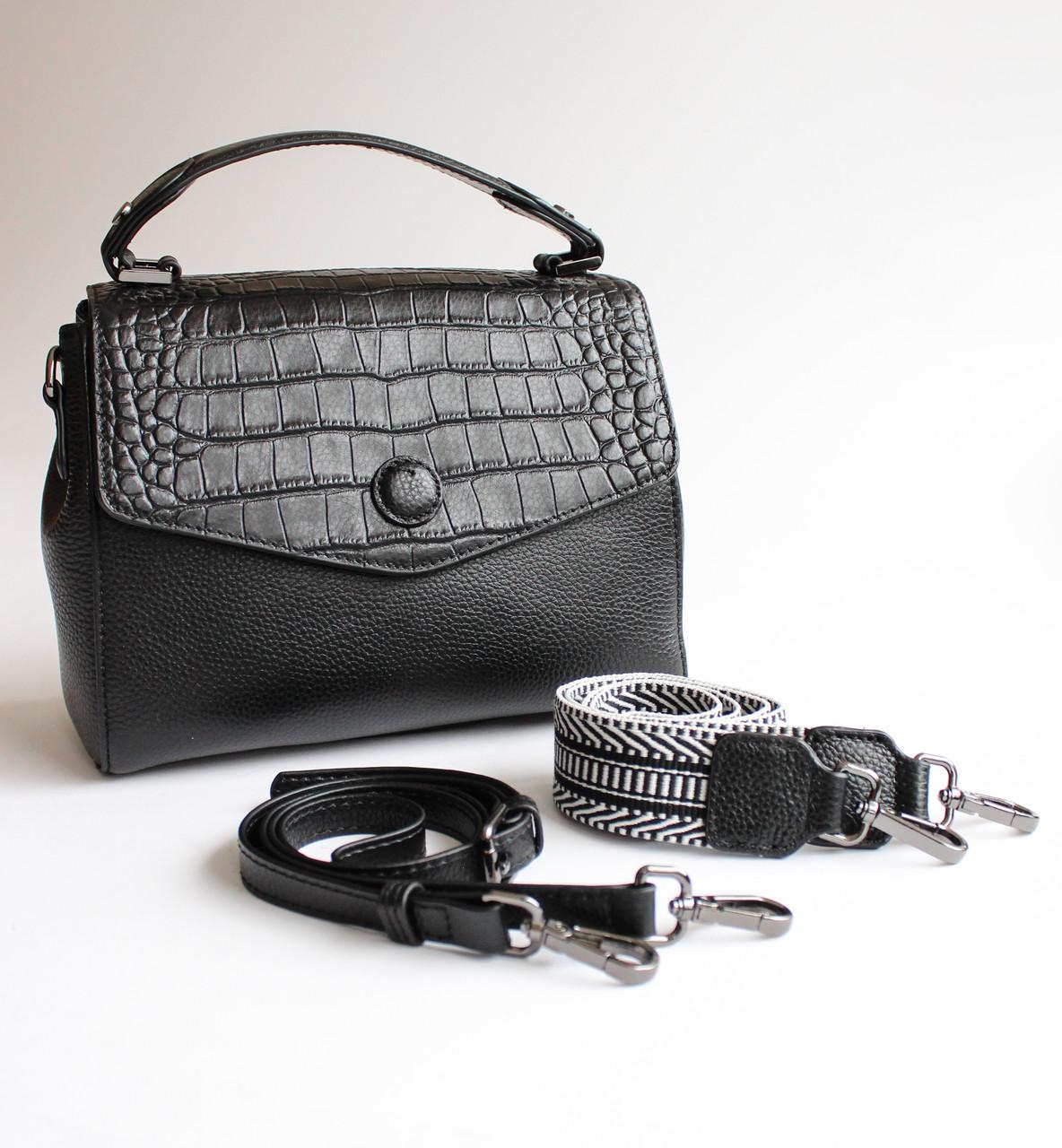 Женская кожаная черная сумка