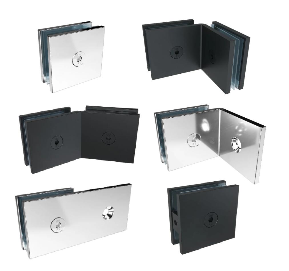 Фурнітура для скла, кріпильні системи для скла та скляних конструкцій, власники фурнітура для скла