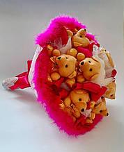 Букет из мягких игрушек мишек / Плюшевый букет / Большой букет из мишек / розовый 9 мишек
