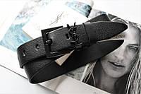 Женский ремень ширина 3.8 см черная пряжка Yves Saint Laurent черный