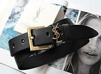 Женский ремень ширина 3.8 см пряжка бронза Yves Saint Laurent черный