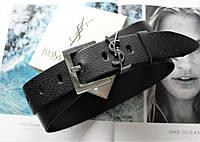 Женский ремень ширина 3.8 см пряжка серебро Yves Saint Laurent черный