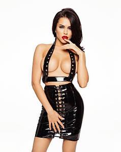 Лакированная юбка со шнуровкой, размер L