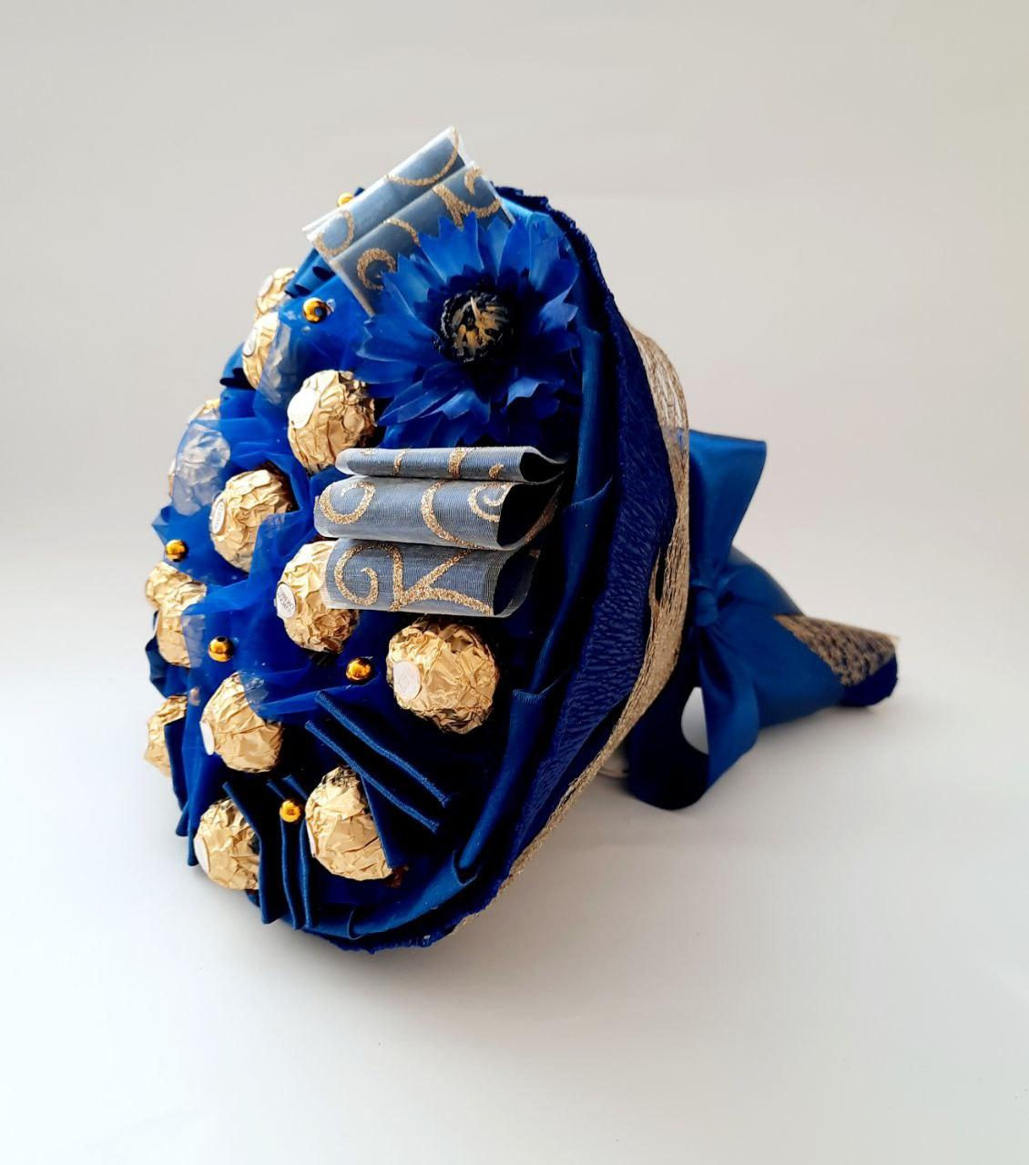 Букет из конфет / Сладкий букет / Конфетный букет /синий Васильковое поле вкусный подарок