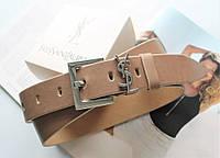 Женский ремень ширина 3.8 см пряжка серебро Yves Saint Laurent бежевый
