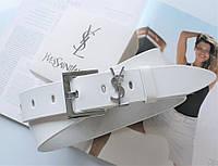 Женский ремень ширина 3.8 см пряжка серебро Yves Saint Laurent white