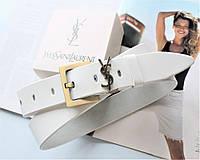 Женский ремень ширина 3.8 см пряжка бронза Yves Saint Laurent white
