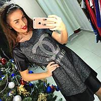 Элегантное женское платье CHANEL с перфорированной эко-кожей