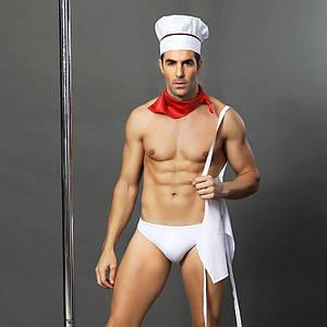 """Чоловічий еротичний костюм кухаря """"Умілий Джек"""" S/M: сліпи, фартух, хустка і ковпак"""
