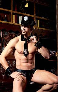 """Мужской эротический костюм полицейского """"Неумолимый Джон"""": фуражка, трусы, манжеты, галстук, дубинка"""