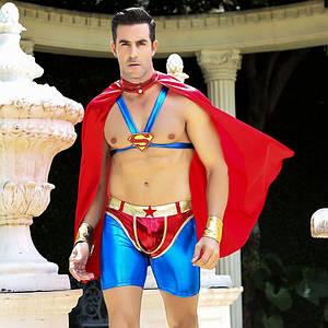 """Чоловічий еротичний костюм супермена """"Готовий на все Стів"""" S/M: плащ, портупея, шорти, манжети"""