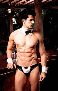 """Чоловічий еротичний костюм офіціанта """"Послужливий Майк"""" S/M: сліпи, манжети, метелик"""