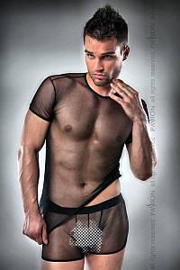 Комплект білизни Passion 017 SET black L/XL, повністю прозора футболочка і такі ж шортики