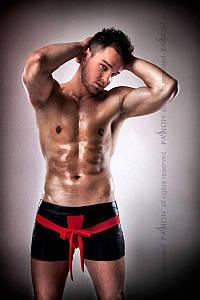 Блестящие мужские шорты с бантом Passion 001 SHORT black L/XL