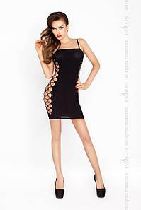 Бодистокинг Passion BS026 black, платье-сетка на бретелях