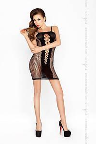 Бодистокинг Passion BS027 black, платье-сетка на бретелях, очень откровенное