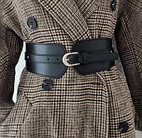 Женский кожаный пояс ремень широкий черный