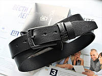Мужской кожаный ремень Massimo Dutti для джинсов total black