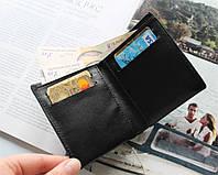 """Кожаный компактный кошелек """"Vigore"""" черный"""