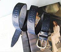 Женский кожаный ремень с тиснением Guess синий