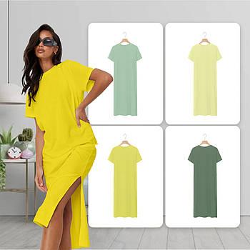 Модное однотоннее платье желтого цвета (базовый гардероб) ТМ СДВУ модель SD2