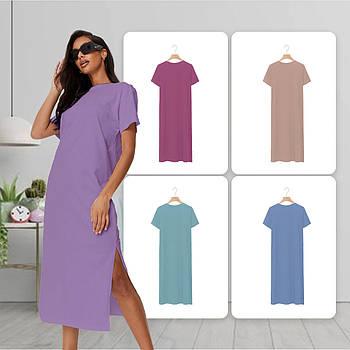Модное однотоннее платье сиреневого цвета (базовый гардероб) ТМ СДВУ модель SD2