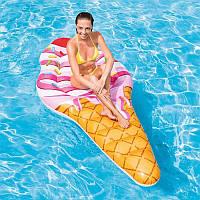 Надувной плотик Intex Мороженое Вафельный Рожок 58762 | Пляжный матрас для плавания | Надувная платформа