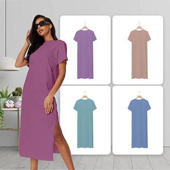 Модное однотоннее платье фиолетового цвета (базовый гардероб) ТМ СДВУ модель SD2