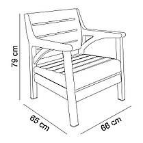Набор мебели Irak Plastik Гавайи (2 кресла + скамейка + столик) тёмно-коричневый, фото 2