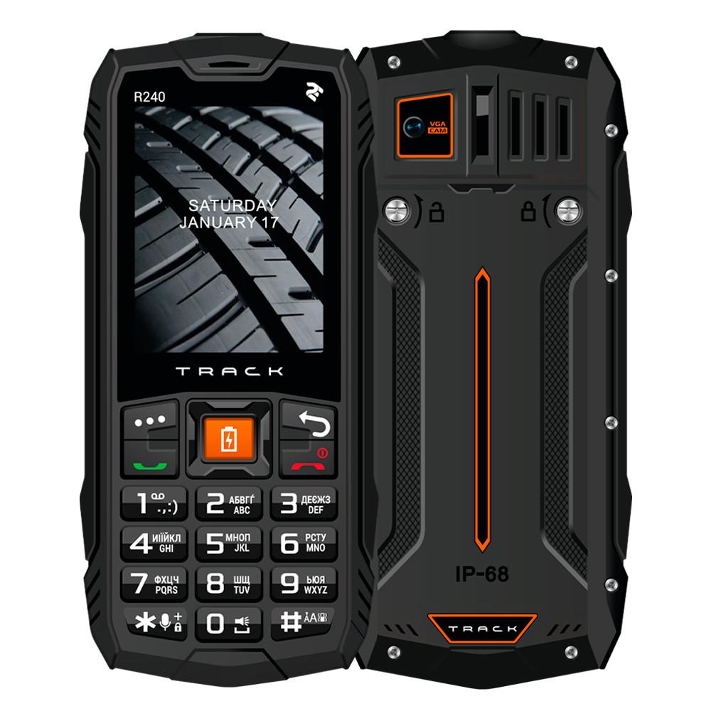 Телефон защищенный кнопочный противоударный водонепроницаемый с мощным фонариком 2E R240 (2020) черный