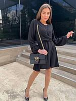 Однотонное летнее женское платье выше колена (чёрный, лаванда, персик, оливка, голубой) 44-44 и 46-48