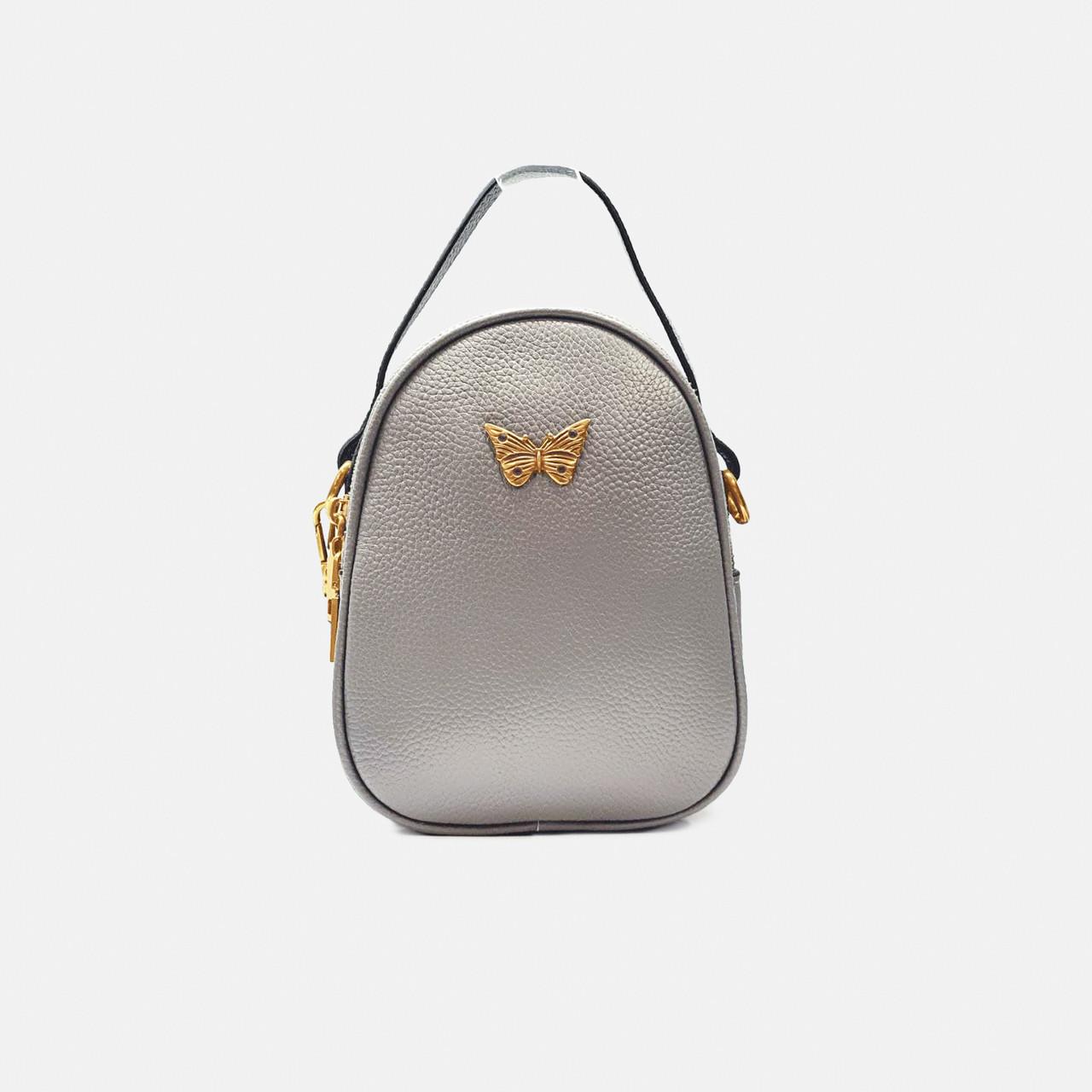 Модная женская кожаная маленькая сумка-клатч серая 009