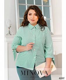 Легкая женская блузка из софта с завязками на рукавах большие размеры 50-52,54-56,58-60,62-64,66-68