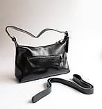 Жіноча чорна шкіряна сумка, фото 3