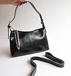 Жіноча чорна шкіряна сумка, фото 4