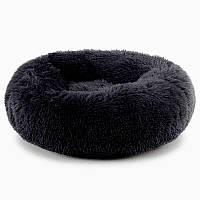 Лежанка постель для кошки или собачки черная диаметром 45 см.