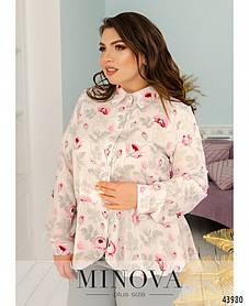 Легкая женская блузка из софта с баской большие размеры 50-52,54-56,58-60,62-64,66-68