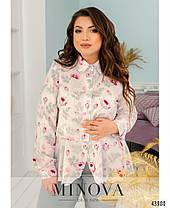 Легкая женская блузка из софта с баской большие размеры 50-52,54-56,58-60,62-64,66-68, фото 2