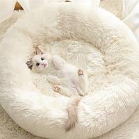 Лежанка постель для кошки или собачки белая диаметром 45 см.