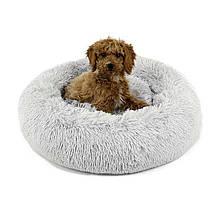 Лежанка постель для кошки или собачки серая диаметром 45 см.