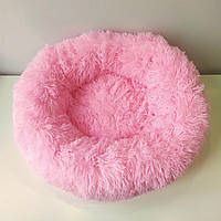 Лежанка постель для кошки или собачки ярко розовая диаметром 45 см.
