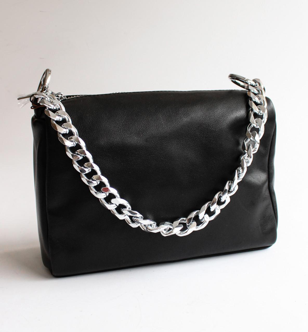 Жіноча шкіряна чорна сумка