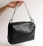 Жіноча шкіряна чорна сумка, фото 4