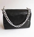 Жіноча шкіряна чорна сумка, фото 3