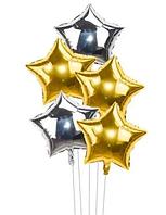 """Набор фольгированных шаров """" Звёзды золото+серебро"""", 5 шт."""