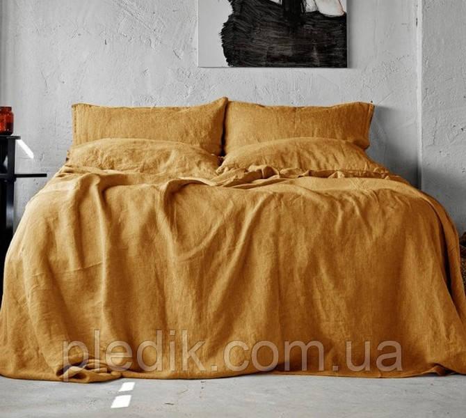 Шикарное Льняное постельное белье евро, горчичное SoundSleep Muse mustard